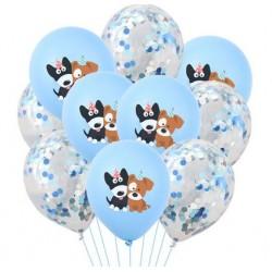 10 ballonnen Happy Dog blauw en blauwe confetti mix