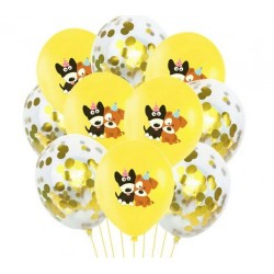 10 ballonnen Happy Dog geel en gouden confetti mix