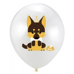 5 ballonnen Happy Dog wit