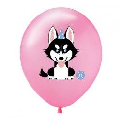 5 ballonnen Happy Dog roze