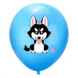 5 ballonnen Happy Dog blauw