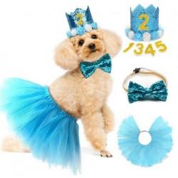 Driedelige honden verjaardags set blauw