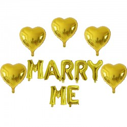 Ballonnen set Marry Me goud