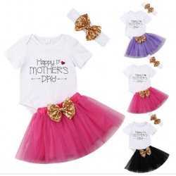 3-delige tutu set My First Mothers Day roze, paars of zwart