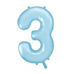 Cijfer folie ballon 3 met een hoogte van 86 cm pastel blauw