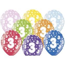 Ballonnen 3e verjaardag Metallic Mix
