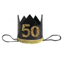Glitter hoedje voor 50e verjaardag of jubileum zwart met goud