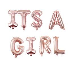 Folie ballonnen set It's a Girl rosé goud