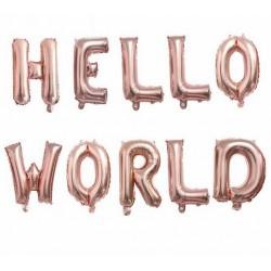 Folie ballonnen set Hello World rosé goud