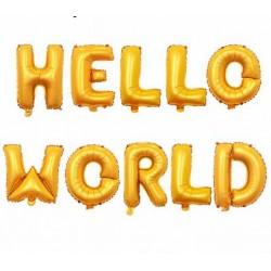 Ballonnen set Hello World goud