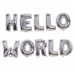 Ballonnen set Hello World zilver