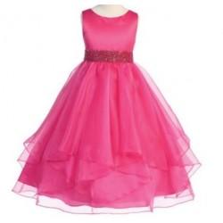 Feestelijk jurkje met satijnen bovenlijfje en rok bestaande uit meerdere lagen organza hot pink