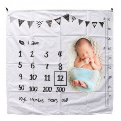 Baby Milestone Blanket I Am Black and White met gratis houten pijlen set