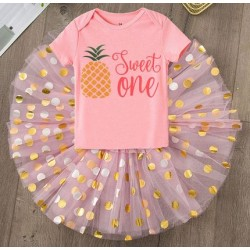 2-delig 1e verjaardag setje Pineapple and Dots pink