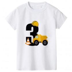 Wit verjaardags t-shirt Graafmachine 3 jaar