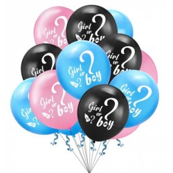 Ballon 15-delig set Boy or Girl roze, blauw en zwart