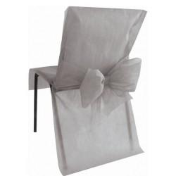 Trendy stoelhoes met strik aan de achterzijde zilver grijs