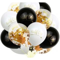 Ballonnen Wild One Tribal zwart, wit en met gouden confetti