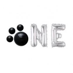 Folie ballonnen set Dog One zwart met zilver