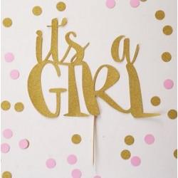 Aantrekkelijk geprijsde taart topping It's a Girl van glanzend goud karton