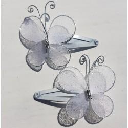 Kaart met twee haarknipjes Butterfly White
