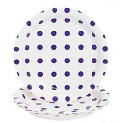 Bord wit met paarse stippen