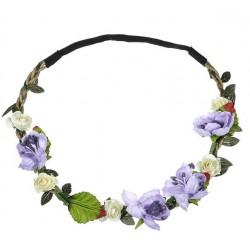 Bohemian style gevlochten haarbandje met blaadjes en lila en ivoorkleurige bloemetjes