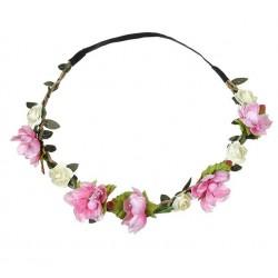 Bohemian style gevlochten haarbandje met blaadjes en roze en ivoorkleurige bloemetjes