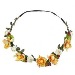Bohemian style gevlochten haarbandje met blaadjes en donker gele en ivoorkleurige bloemetjes