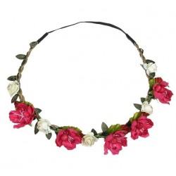 Bohemian style gevlochten haarbandje met blaadjes en witte en rode bloemetjes
