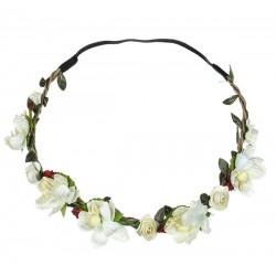 Bohemian style gevlochten haarbandje met blaadjes en ivoorkleurige bloemetjes