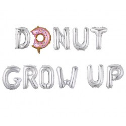 Folie ballonnen set 11-delig Donut Grow Up zilver