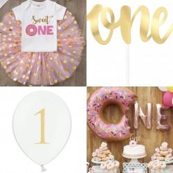 18-delige eerste verjaardags set Sweet One Donut