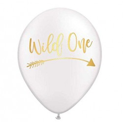 Ballonnen Wild One Tribal wit met goudkleurige opdruk
