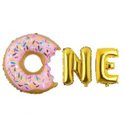 Eerste verjaardag folie ballonnen set Donut goud of rose goud