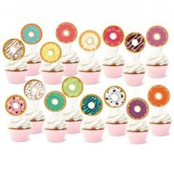Pak met 16 cupcake toppers Donut