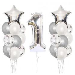 Ballonmix voor een eerste verjaardag in de kleur zilver