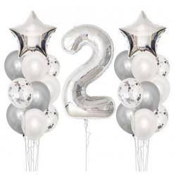 Ballonmix voor een tweede verjaardag in de kleur zilver