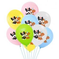 10 Ballonnen Happy Birthday Dog wit, roze, geel, blauw en groen
