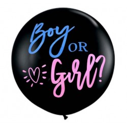 Baby Gender Revel Balloon met in trendy vette letters Boy or Girl met roze en blauwe confetti