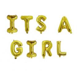 Folie ballonnen set It's a Girl goud