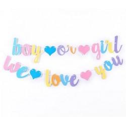 Banner Boy or Girl en I Love You kleurrijk