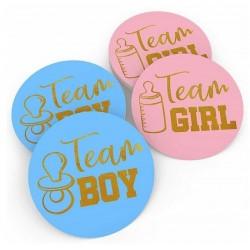 12 stickers blauw of roze met goud Team Boy of Team Girl