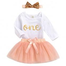 3-delig 1e verjaardag setje Adorable Peach