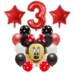 Minnie Mouse rood zwart en wit 14-delig ballonnen pakket voor een derde verjaardag