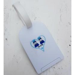 Tas- of bagagelabel wit met een vrolijke sticker Mr and Mr met 2 blauwe hartjes