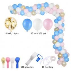 Ballonboog set 113-delig roze wit blauw en goud