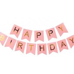 Banner met goud folie letters Happy Birthday op roze ondergrond XL