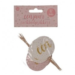 Eerste verjaardag cupcake prikkers wit en roze met gouden opdruk