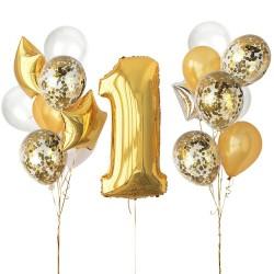 Eerste verjaardag ballonnen set Stylish Gold and White